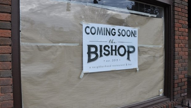 This is the window in front of The Bishop, which will open soon in Avondale Estates. Photo by: Dan Whisenhunt