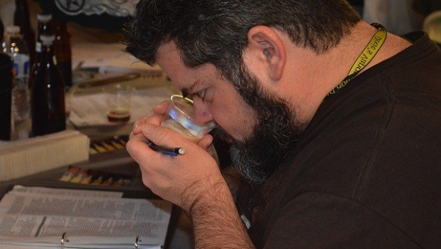 March 29, 2014: A judge at the Peach State Brew Off sniffing aroma of Imperial IPA. File Photo by Lauren Ragland