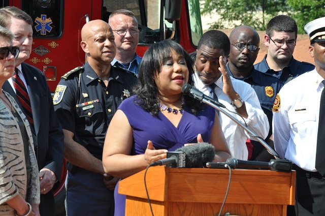 Commissioner Sharon Barnes Sutton speaks during a groundbreaking for a new fire station in Avondale Estates. File photo by Dan Whisenhunt