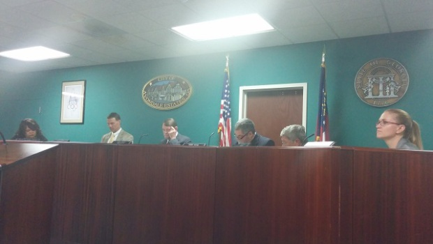Avondale Estates City Commissioners voted Oct. 20 to accept Ed Rieker's resignation.  Photo by Dan Whisenhunt