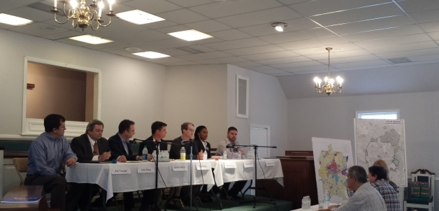 A forum at the Church of Decatur Heights, Sunday, Oct. 25, 2015. (Left to Right) Tumperi, Ridley, Johnson, Drake, Goebel, White, DeSimone. Photo by Dena Mellick