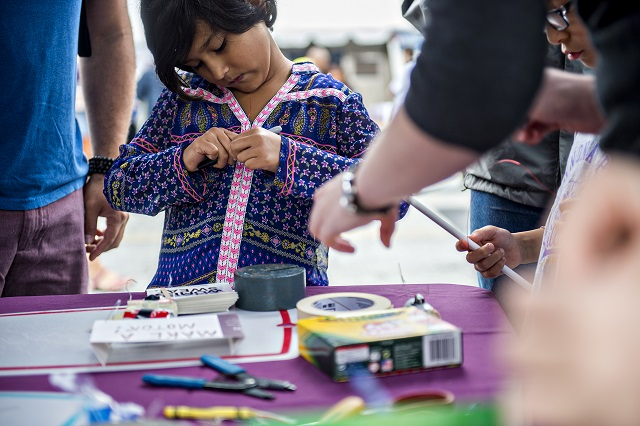 Zaila Karim makes a motor during the Atlanta Maker Faire in Decatur on Saturday. Photo: Jonathan Phillips