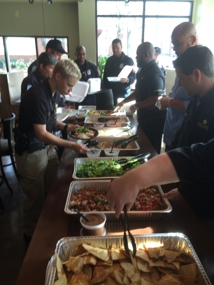 Decatur first responders enjoyed a taste of Taziki's on New Year's Eve. Photo provided by Taziki's
