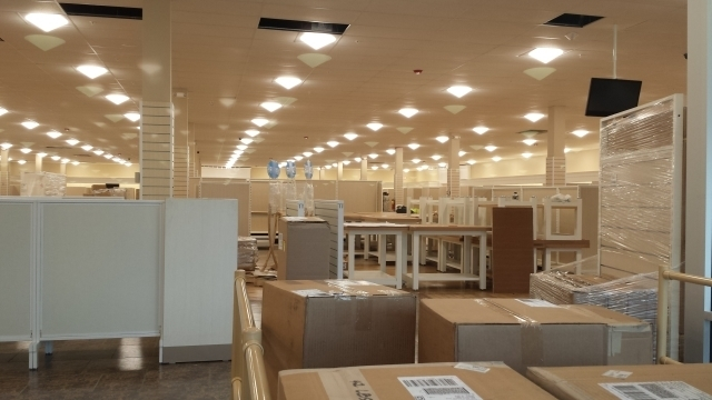 The interior of HomeGoods being built in Decatur's Suburban Plaza. Photo by Dena Mellick