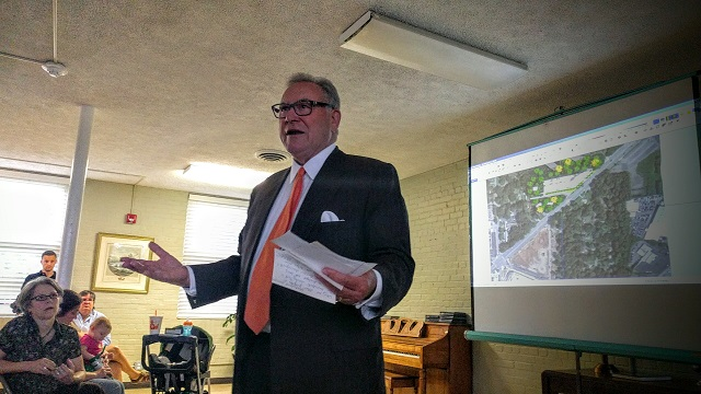 Attorney Douglas Dillard speaks to Medlock Park residents about a proposed hotel during a meeting at North Decatur United Methodist Church on June 1. Photo by Dan Whisenhunt