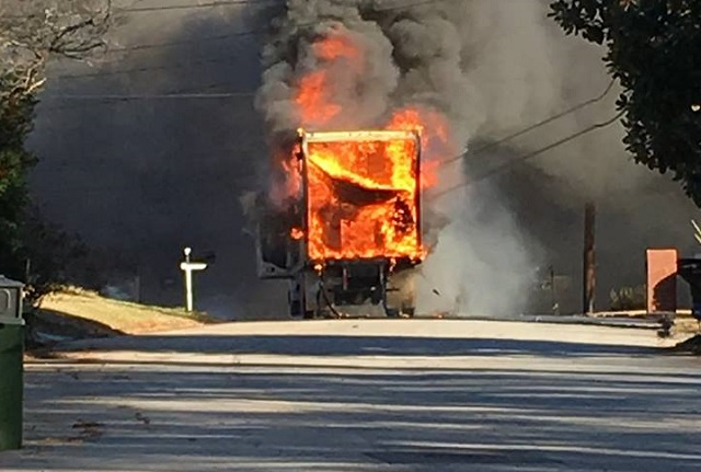 (UPDATE) Box truck catches fire on St. Patrick Street near Midway Woods